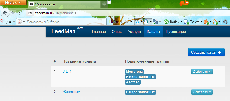Каналы в Feedman.ru