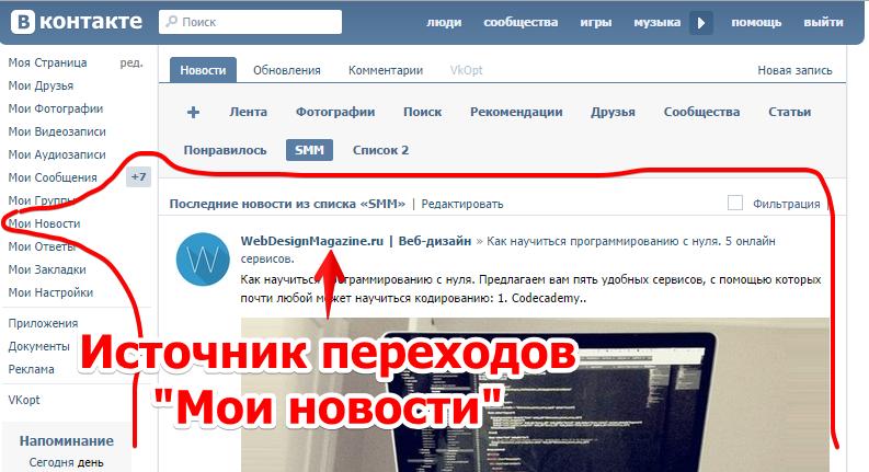 """Источник переходов """"Мои новости"""""""